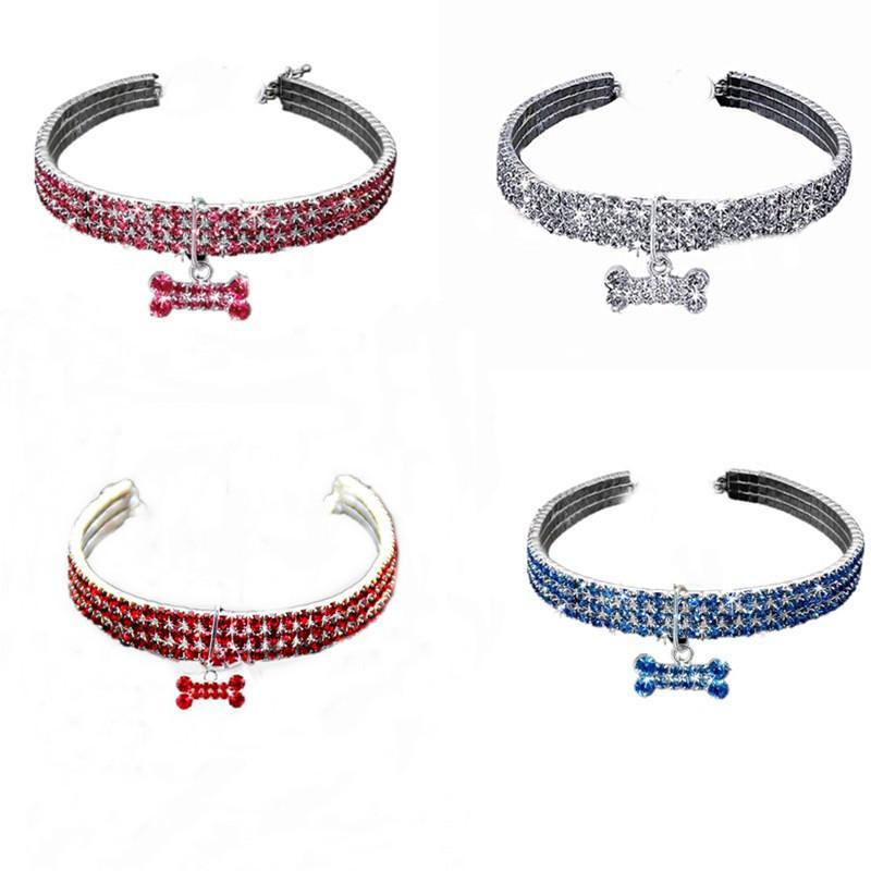 Haustier Hund Strass 3 Schicht Diamantkragen Dekoration Katze Kragen Kristall Welpen Halskette Leine für kleines Medium