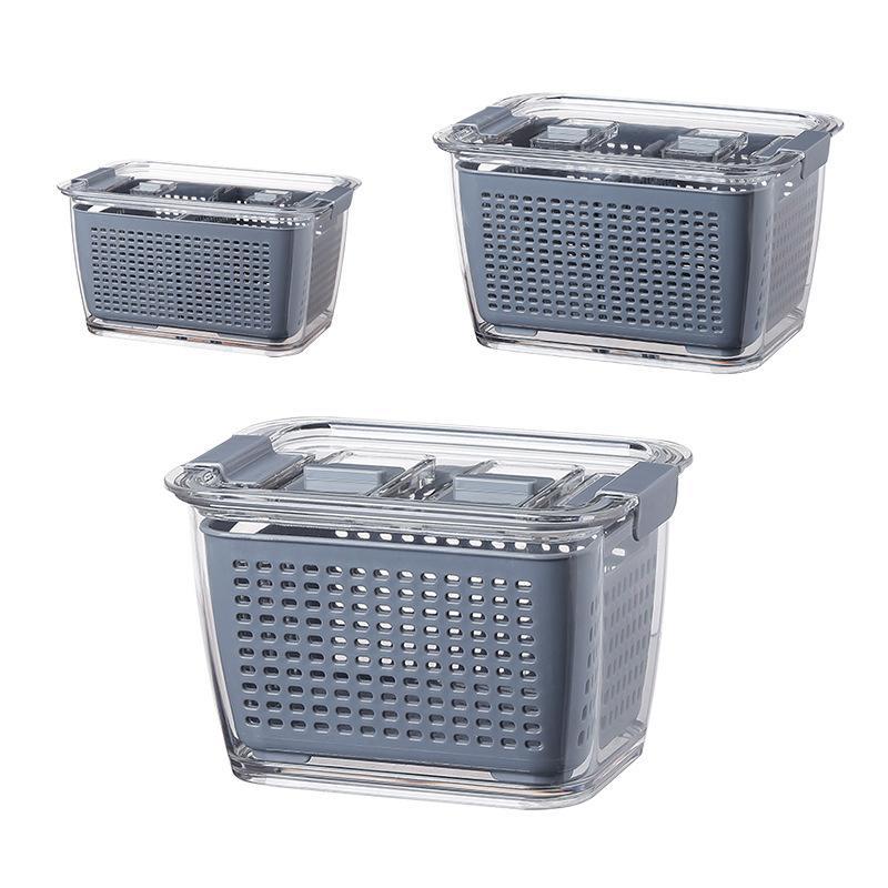 حاويات تخزين ثلاجة المطبخ مع غطاء لحيوانات الأليفة تخزين مربع الفاكهة الخضار استنزاف حفز تخزين المطبخ مربع 201022
