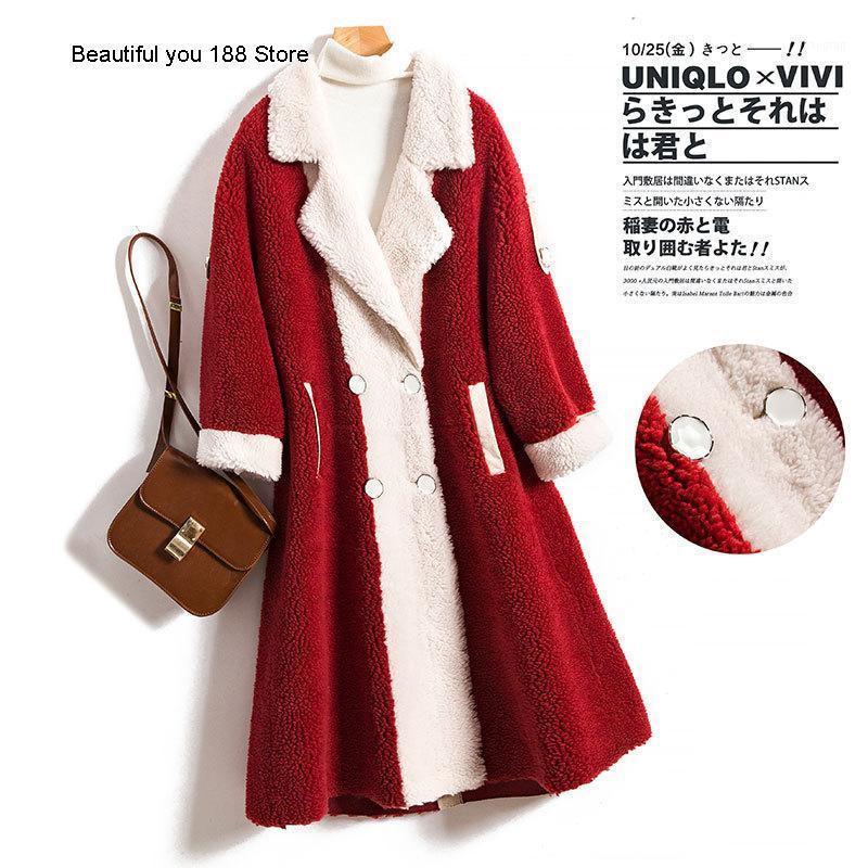 Abrigo de una sola pieza de piel de gama alta de invierno abrigo granular de terciopelo de mujer