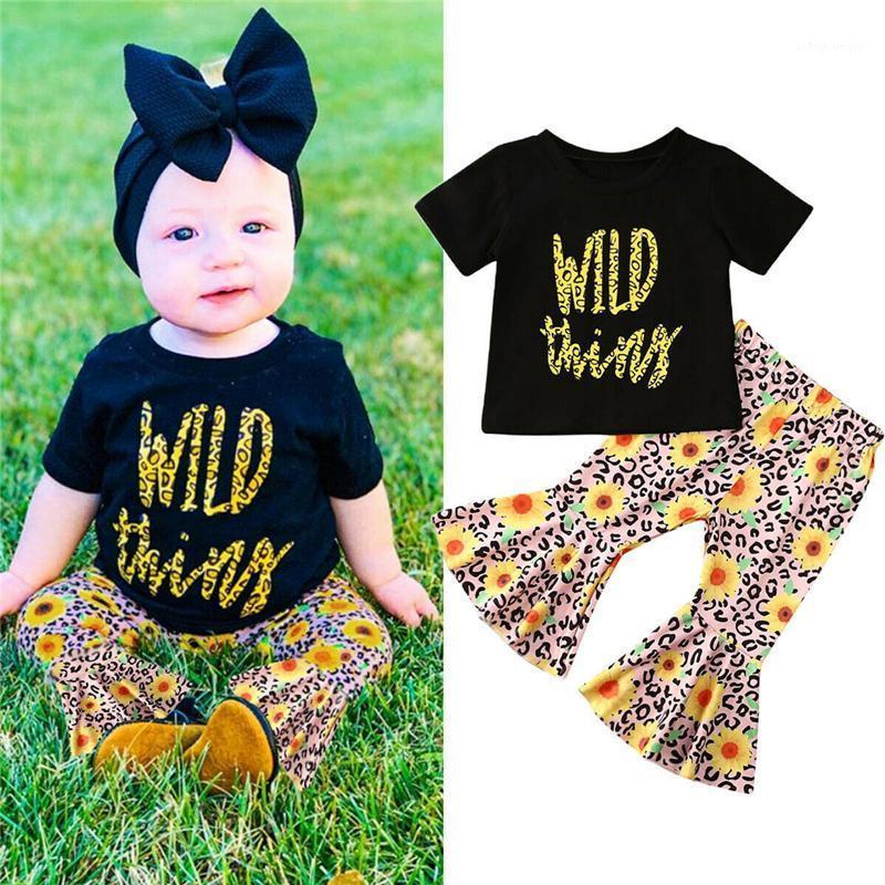 Ropa de verano para bebés Niño bebé niña ropa fija camiseta de manga corta Top + Pantalones de campana de girasol 2pcs Outfit Set1