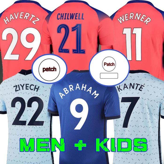 20 21 كرة القدم الفانيلة إبراهيم فيرنر Havertz Chilwell Ziyech Lampard Football قميص بوليسيتا Camiseta Kante Mount 2020 2021 Men + Kids Kit SE