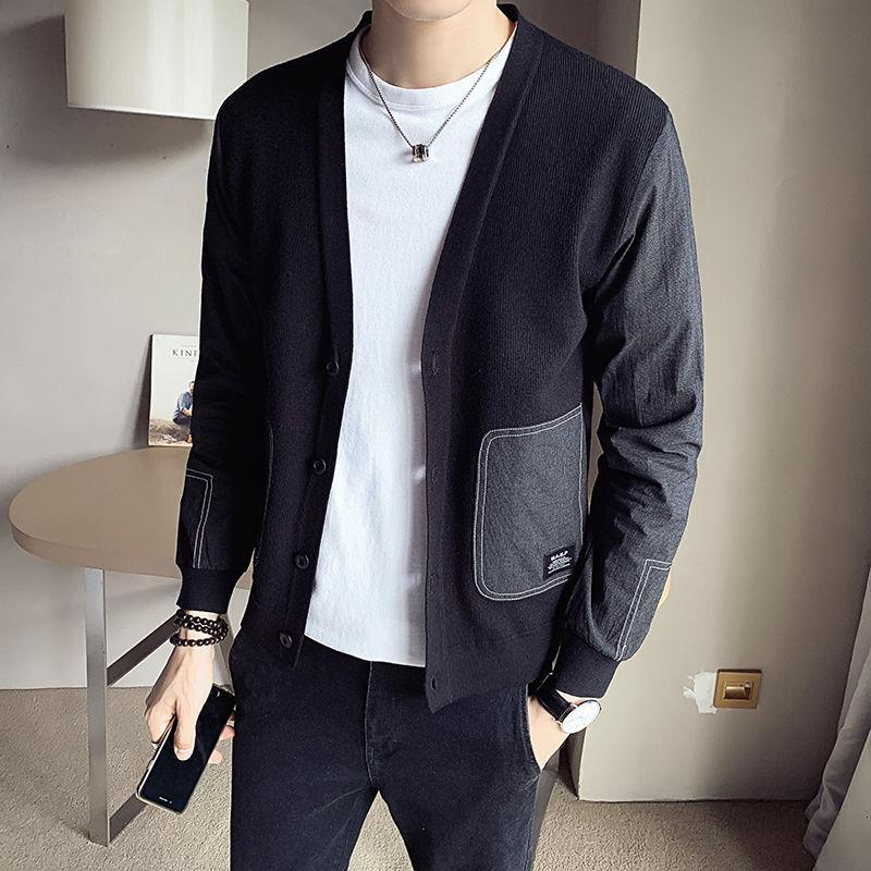 Men's spring and autumn 2021 new fashion trend stitching wild handsome loose knitted cardigan