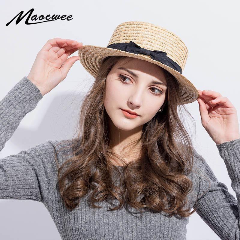 2020-Sommer-Frauen Boater-Strand-Hut Weibliche beiläufige Panamahut Dame Marken-klassische Bowknot Strohflache Sun Frauen Fedora