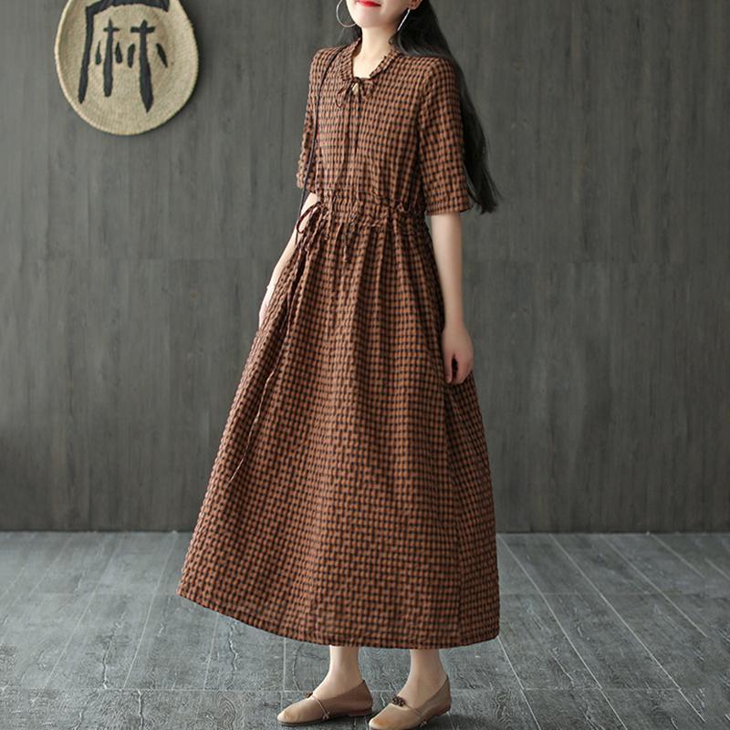 NINI MARAVILHAS verão vestido xadrez de algodão Mulheres vestido retro linho Vintage 2020 solto Midi Feminino cintura alta V Roupa Pescoço