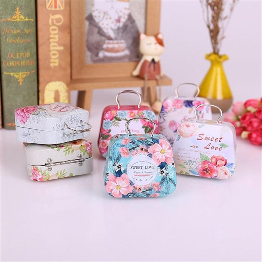 Девушки сумка форма железа мини подарочная коробка маленькая олова детская коробка монеты конфеты ящики детей для свадьбы