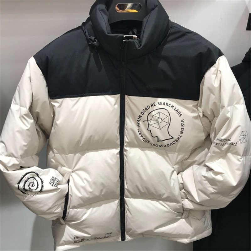 Piumino nuovi uomini di arrivo uomini e le donne Lettera stile stessi Cervello di stampa della novità di modo ispessite giacca corta speciale Asain formato S-2XL