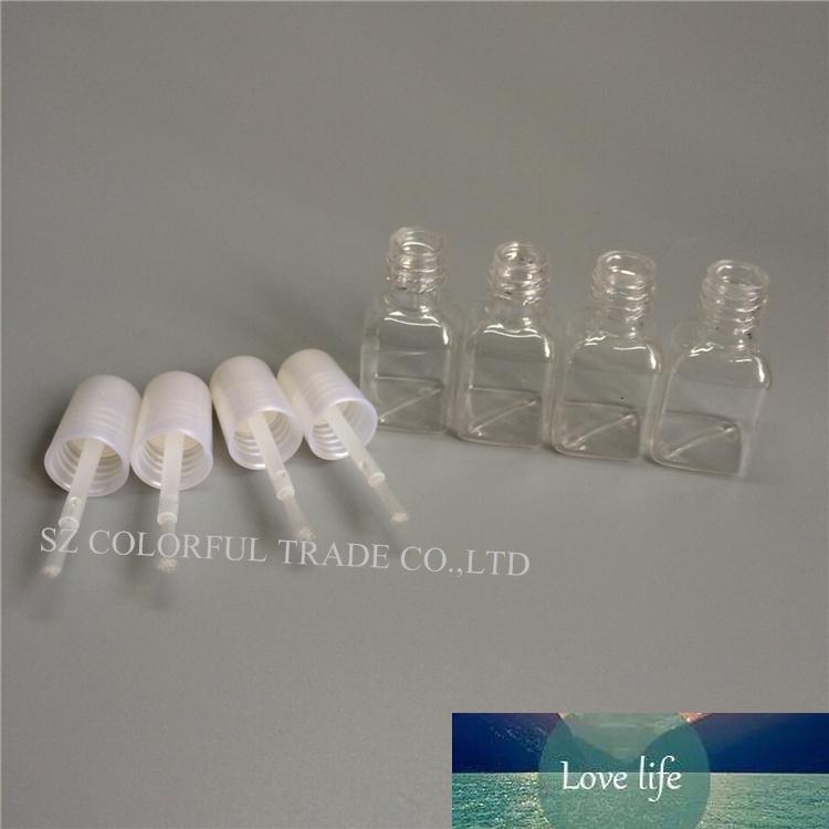 300 adet / grup 5G Mini Sevimli Temizle Plastik Boş Kare Tırnak Cilalı Şişe Beyaz Kapaklı Fırça Plastik Tırnak Şişesi Çocuklar için