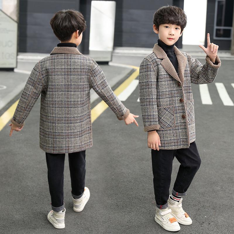 Ragazzo Cappotto di capelli autunno e inverno 2020 Versione coreana dei nuovi qi stranieri per bambini più velluto addensato lungo sezione lunga del cappotto di lattice