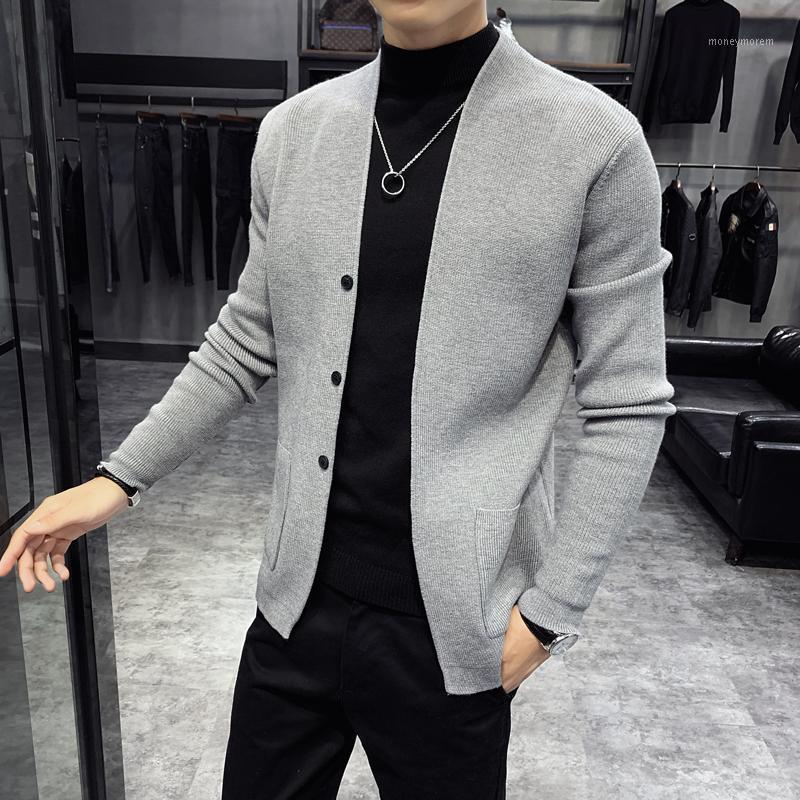 2020 осень зима мужчины твердые кардиган мода мужская одежда случайные корейский стиль кнопка карманная куртка мужская стройная подходит пальто Tops1