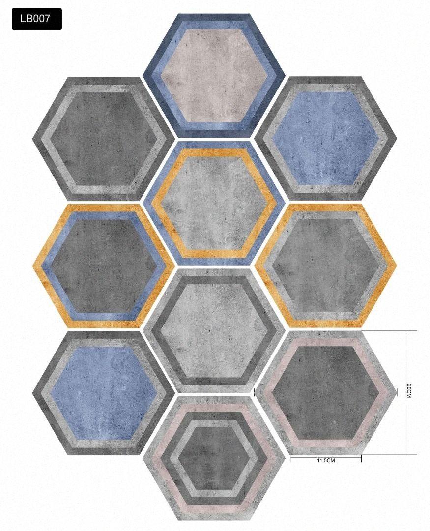 Auto-adhésif Papier peint à six pans Tiles autocollant PVC étanche pour la cuisine salle de bain salon bricolage 9jzW #