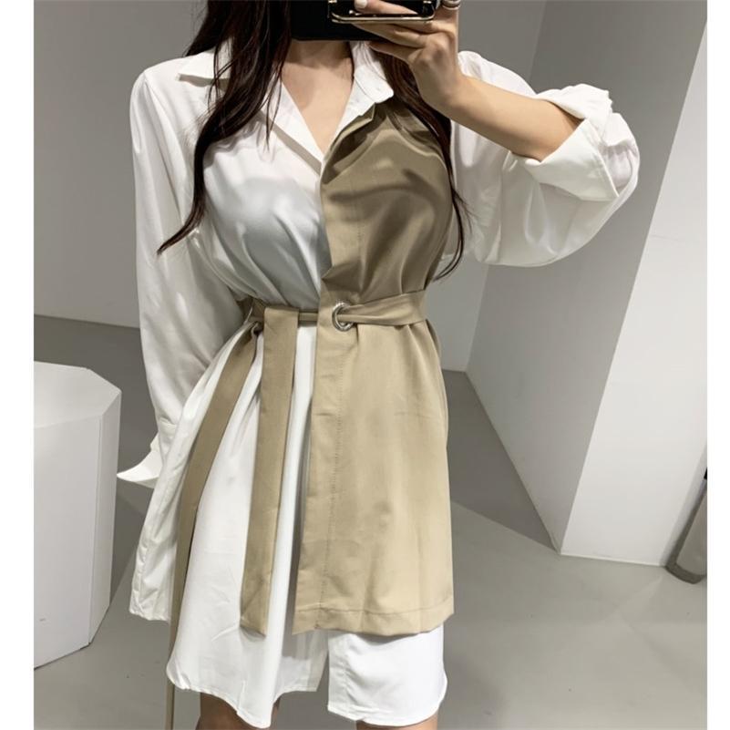 [Ewq] Koreanische stil frühlingskleid frauen neue herbst baumwolle gefälschte zweiteilige damen hemd kleider langarm frauen kleidung 201204