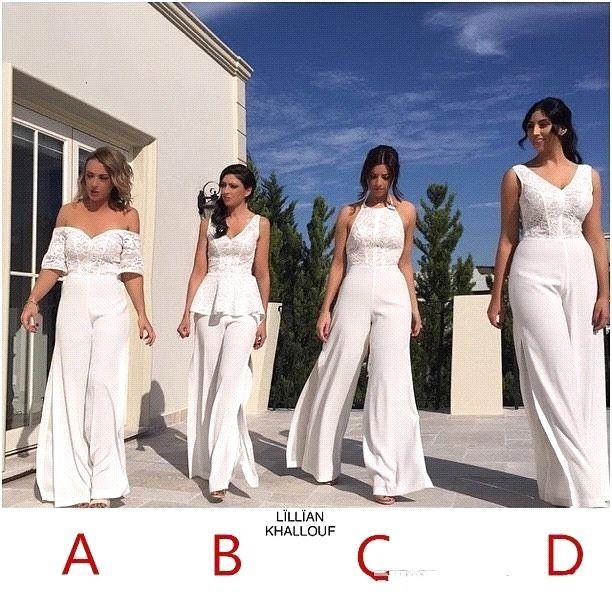 2021 Nya vita brudtärna byxor passar klänning sexig backless spets chiffong sommar bröllop gästklänning plus storlek