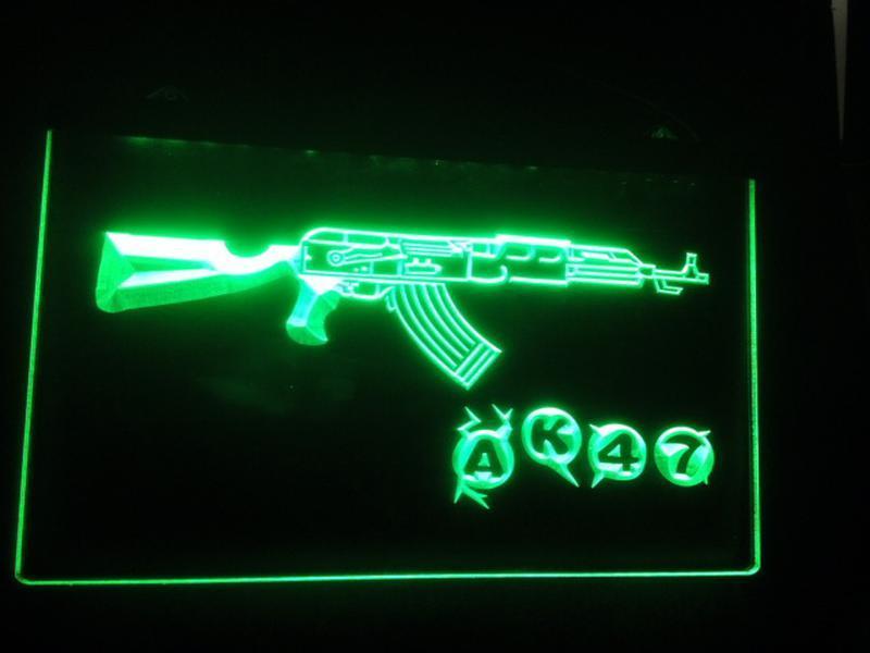 3D B -36 AK47 البنادق الأسلحة بار البيرة 7 اللون أدى ضوء النيون تسجيل