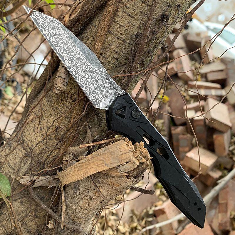 Tool EDC Kershaw Couteaux 7650 Poignée en aluminium CPM-154 / Damas Couteau de poche tactique de camping en plein air