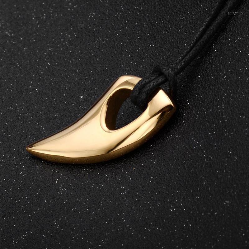 Pingente colares acessórios casuais jóias presente clássico dia dos namorados de moda decoração homens colar lobo dentes em forma de aço inoxidável1