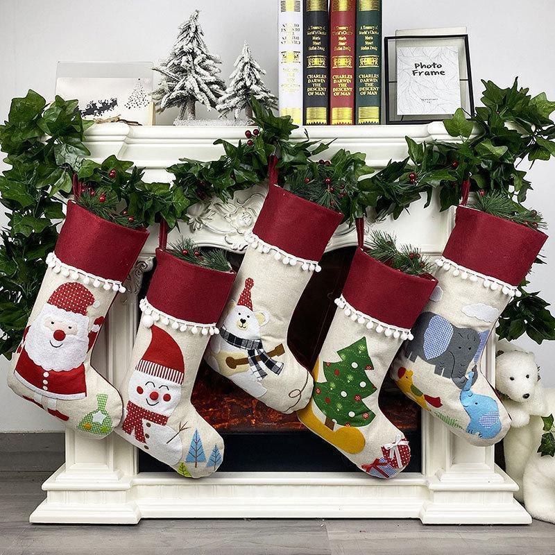 Arbre mignonne de fête de bas Hanging Décoration de Noël Ornement Décor Bonneterie Chaussettes de Noël Enfants cadeau Sac bonbons DHF2578