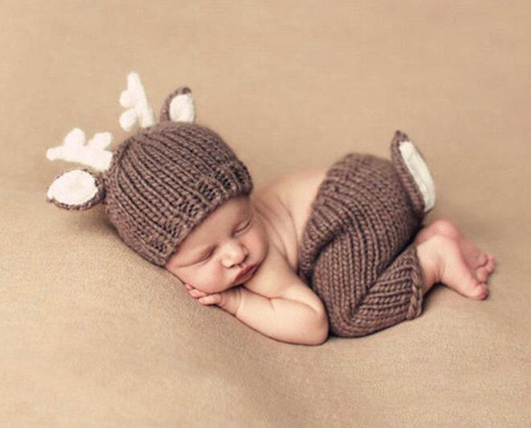 Crochet recién nacido Ciervos de Navidad Baby Disfraz FOTS PROPS KNITBABY HAT INFANTE BEBÉ PHOTO APORTAS NUEVO BABEL