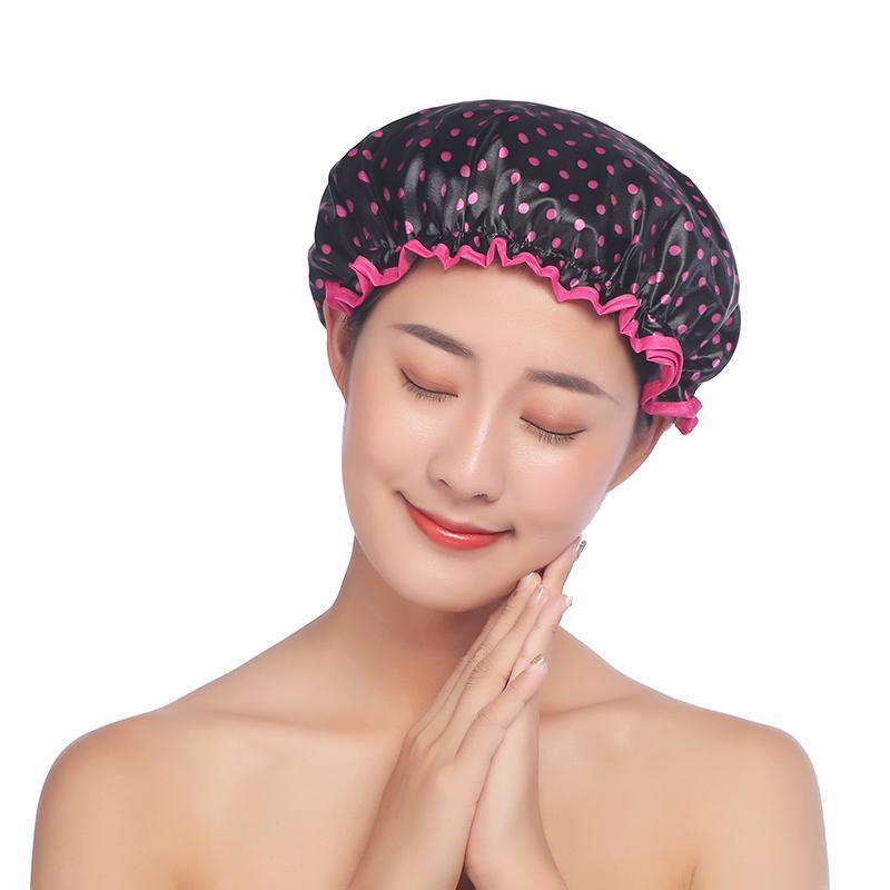 1Pcs шапочка Полиэстер / PEVA Многоцветного Душа Шляпа Waterproof Многоцелевой двухслойные ванной Продукты Обложка для волос
