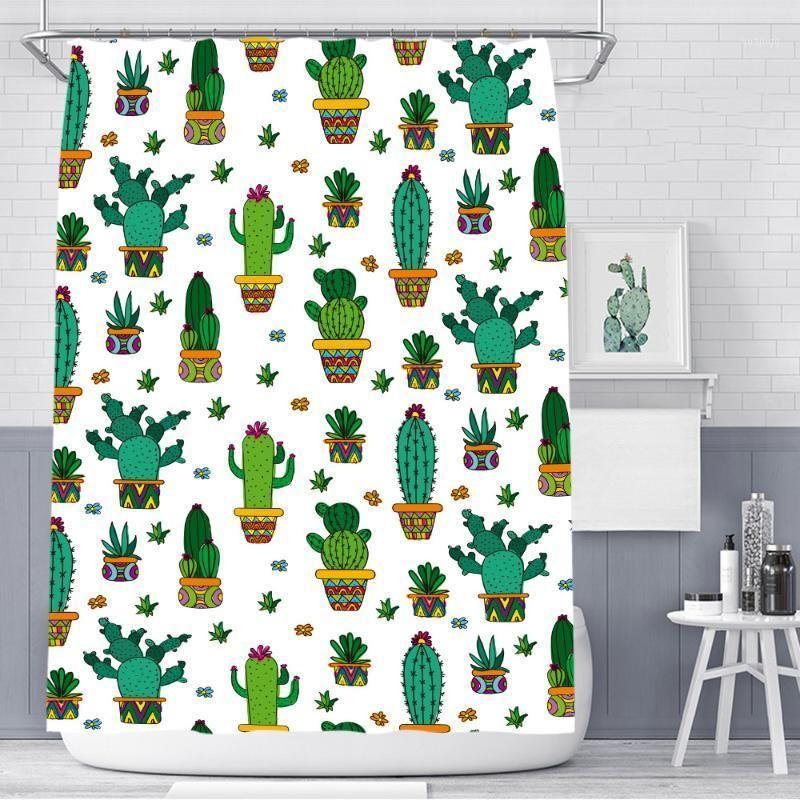 Kleine Kaktus-Polyester-gedrucktes Badezimmer Duschvorhang Wasserdicht und Mehltau wird mit Haken mit Haken geliefert, ohne mehrere Größen Ar1 zu stanzen