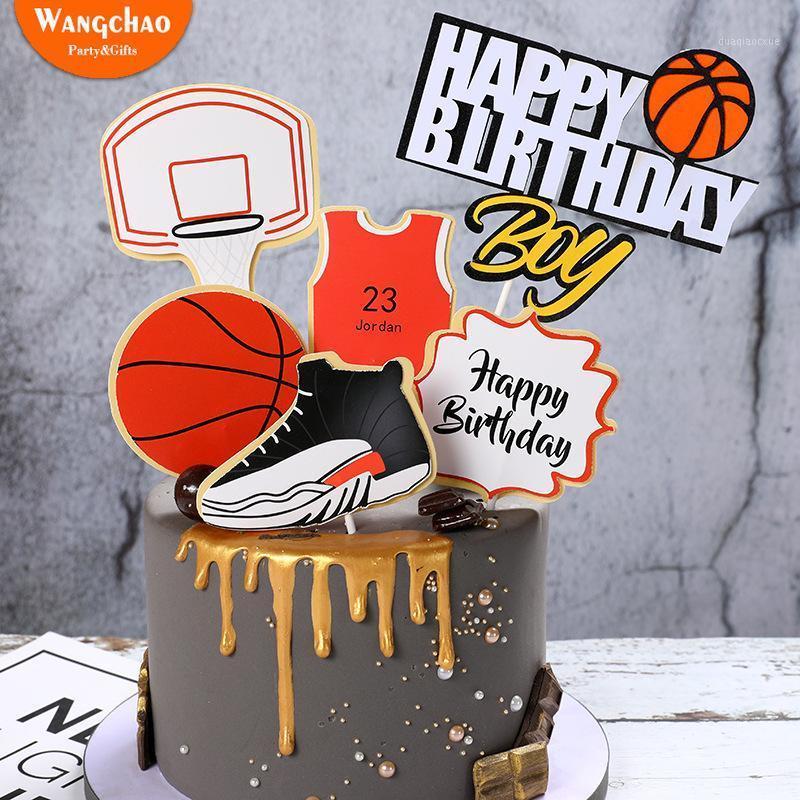 1 conjunto basquete futebol esportes tema decoração meninos decoração de bolo feliz aniversário topper 4 desenhos disponíveis1