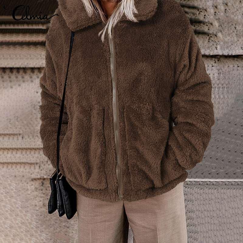 المرأة الفراء فو سيلميا المعتاد طويلة الأكمام معاطف المرأة 2021 الشتاء الدافئة أفخم معاطف فضفاضة عارضة سستة سترات التلبيب الصلبة معطف 7