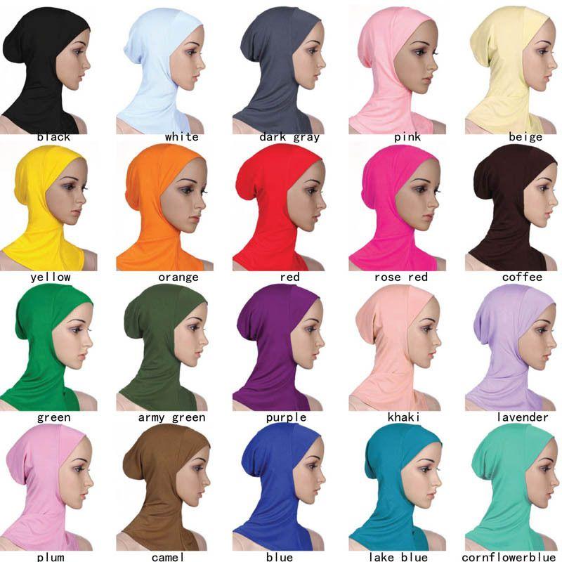 Tasarımcı Müslüman Kadınlar Kapak İç Hicap Eşarplar Kadın Katı Renk Düz Underscarf Cap Eşarp Merserize Pamuk Bayanlar Şapka cny1370