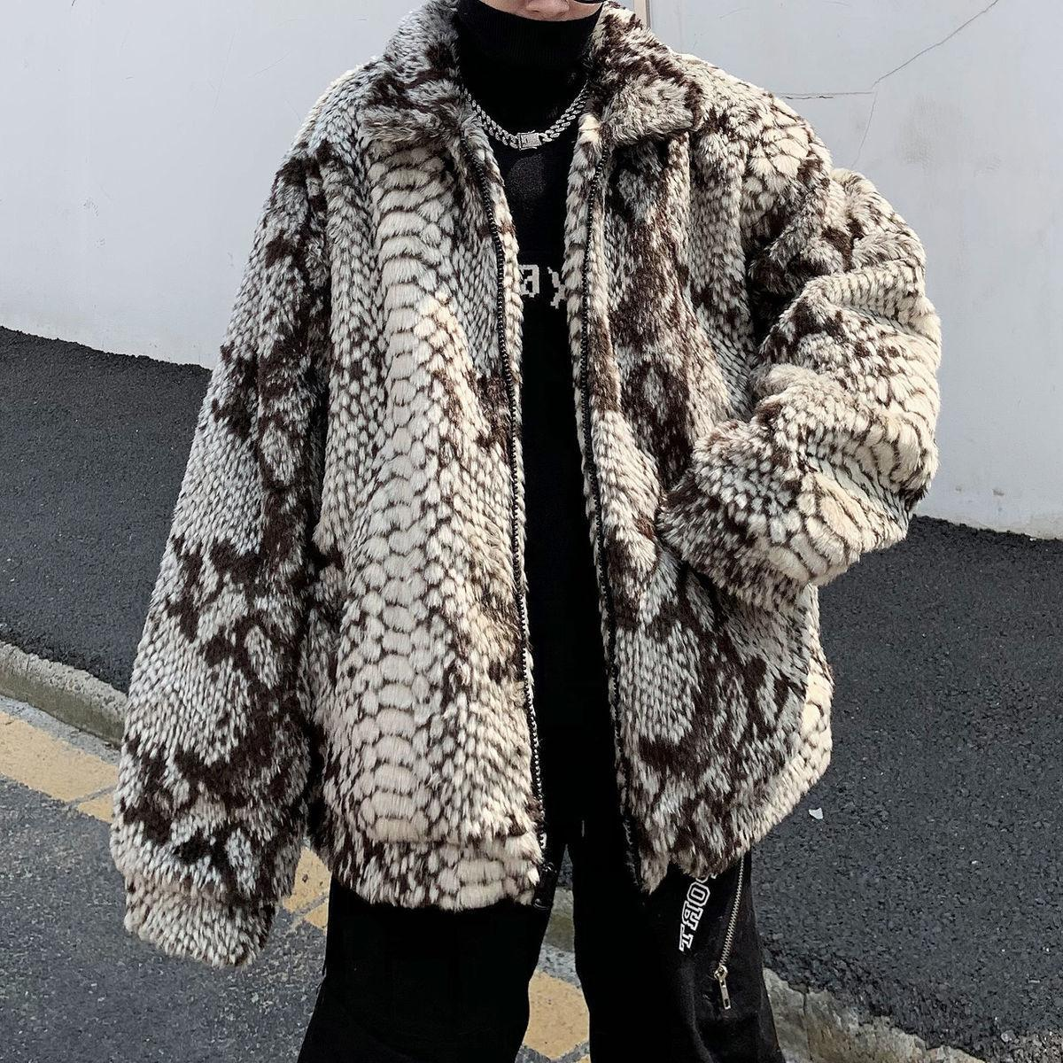 2020 Brand Snakeskin Pattern Imitation Fur Plus Cotton Padded Jacket Men's Thickened Warmth Hot Sale