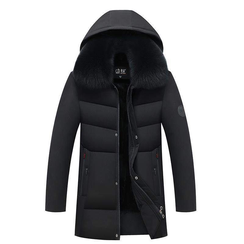 2020 hommes d'hiver Parka mi-longueur de velours chaud Thicken Veste coupe-vent amovible Hat manteau à capuchon Taille Plus 5xl
