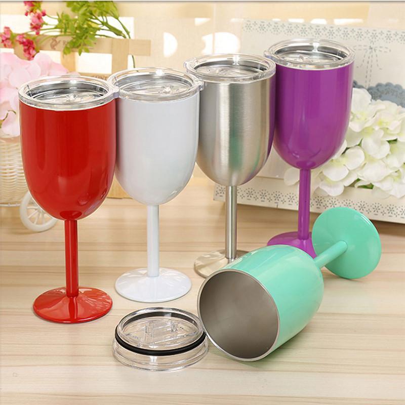 Neue 9 Farben 10 Unzen Edelstahl Cups mit Dichtungsdeckel Weinsaft Getränk Champagner Becher Doppelschicht Cocktail Glas Küche Getränke