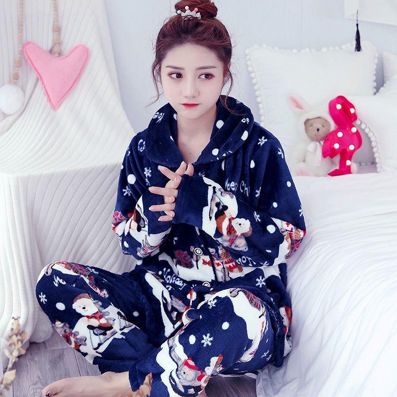 Pijamas de Natal Mulheres Inverno / Outono Pijamas Conjunto Longo Casaco Pant Flanela Loose Tamanho Sexy Home Quente 2019 Sleepwear 2 peça / conjunto C1115