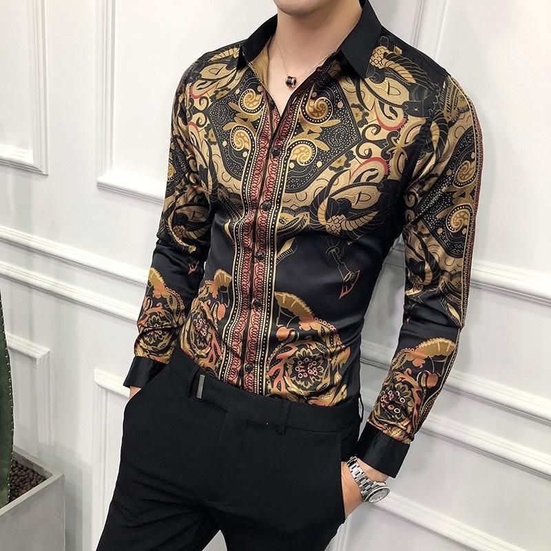 الذهب الفاخرة قميص أسود الرجال جديد يتأهل طويل الأكمام camisa الغمد الذهب الأسود قميص أوم الاجتماعي الرجال نادي حفلة موسيقية قميص LJ200928