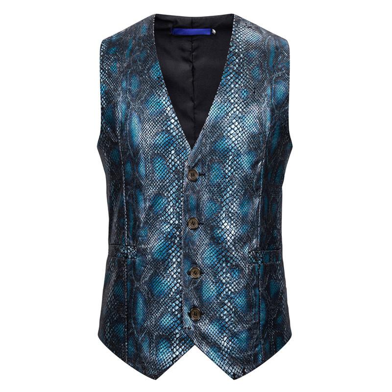 Men's Waistcoat Snakeskin Printed Suit Fashion Streetwear Mens Clothing Big and Tall Size Sleeveless Work Vest Male