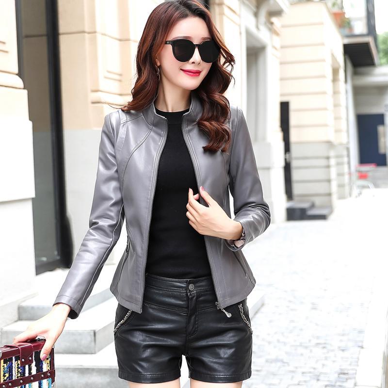 Nuevas mujeres delgado de piel sintética suave chaquetas de las señoras de lavado Escudo Plus tamaño de cuero de cuero cremalleras 5XL Mujer Ropa Y201001