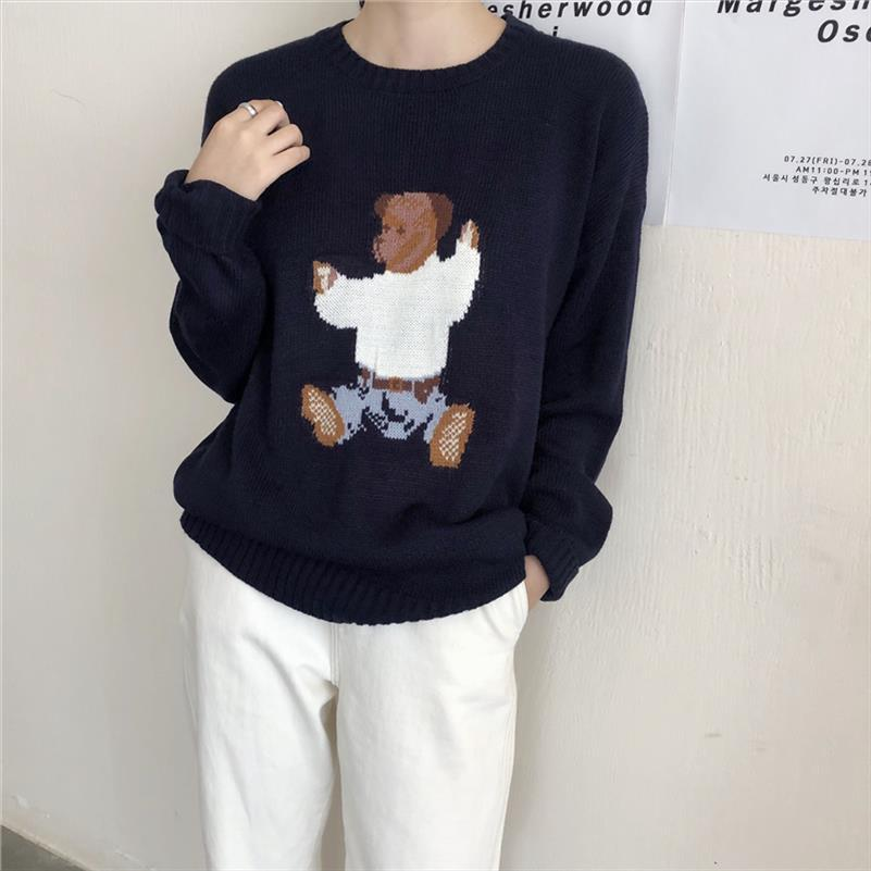2019 autumn and winter new arrival korean style o neck cartoon bear knitted sweaters womens pullovers womens B8667