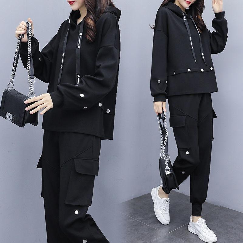 sport vestito nero Donne Tuta Maglia con cappuccio pantaloni impostati due pezzi superiore e la mutanda del tempo libero escursionismo vestiti rampicanti Corrispondenza