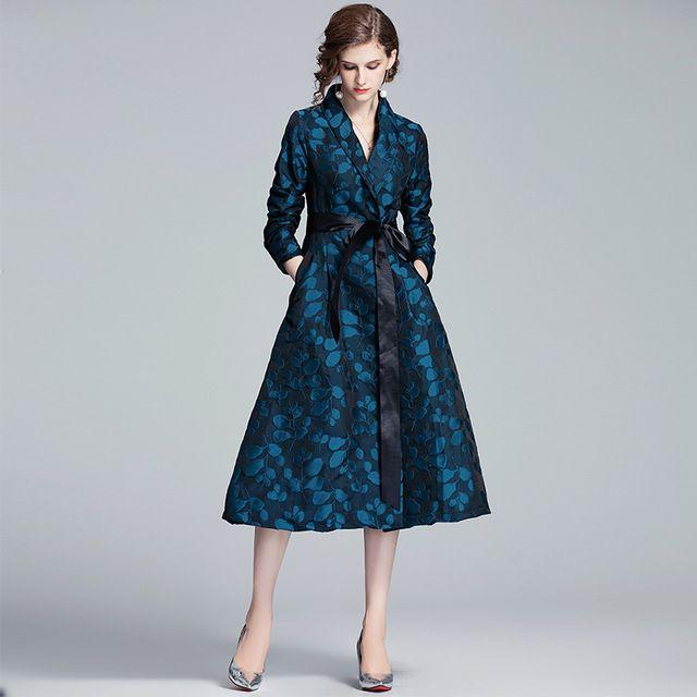 Floral Trench Coat Otoño Invierno Mujeres Single-Breasted Largo Pocket Female Outwear Outwear con el cinturón