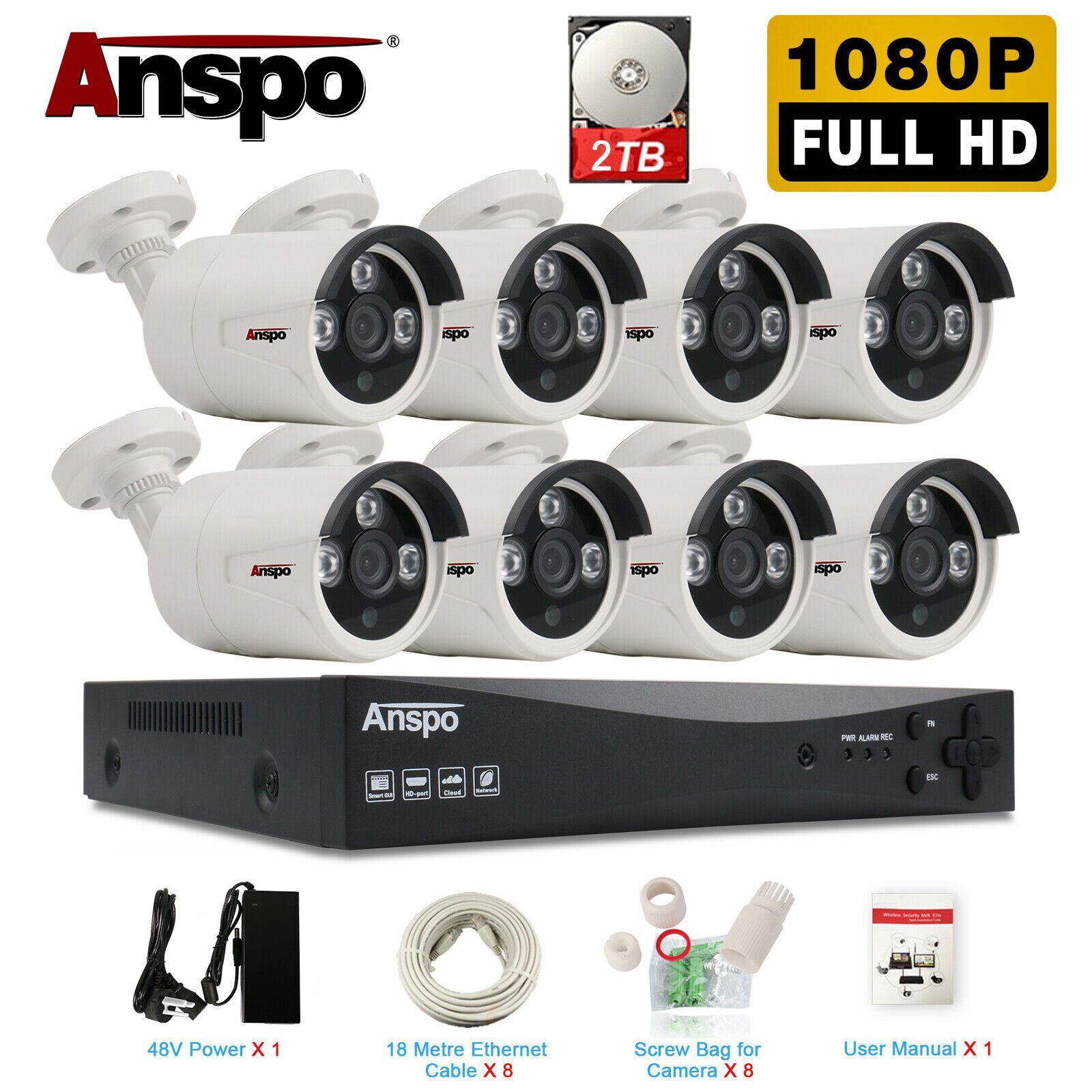 Anspo H.265 8CH 5.0MP HDMI PoE NVR كيت نظام الأمن CCTV 2.0MP IR في الهواء الطلق سجل الصوت IP كاميرا P2P مراقبة الفيديو مجموعة