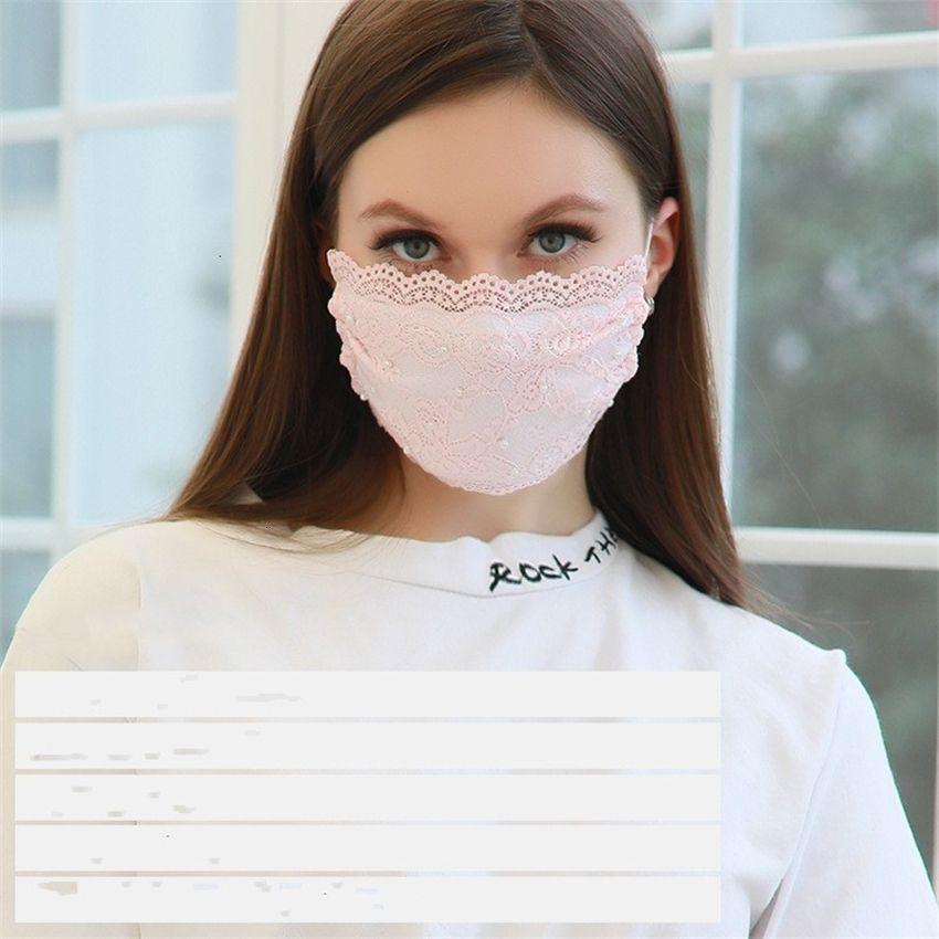Fábrica OutletByayEmbroidery 2021 Encaje Nueva Máscara Adulto Cómoda Cómoda Boca Lavable Cara Cara Moda Moda Mascarilla Masque 5 colores
