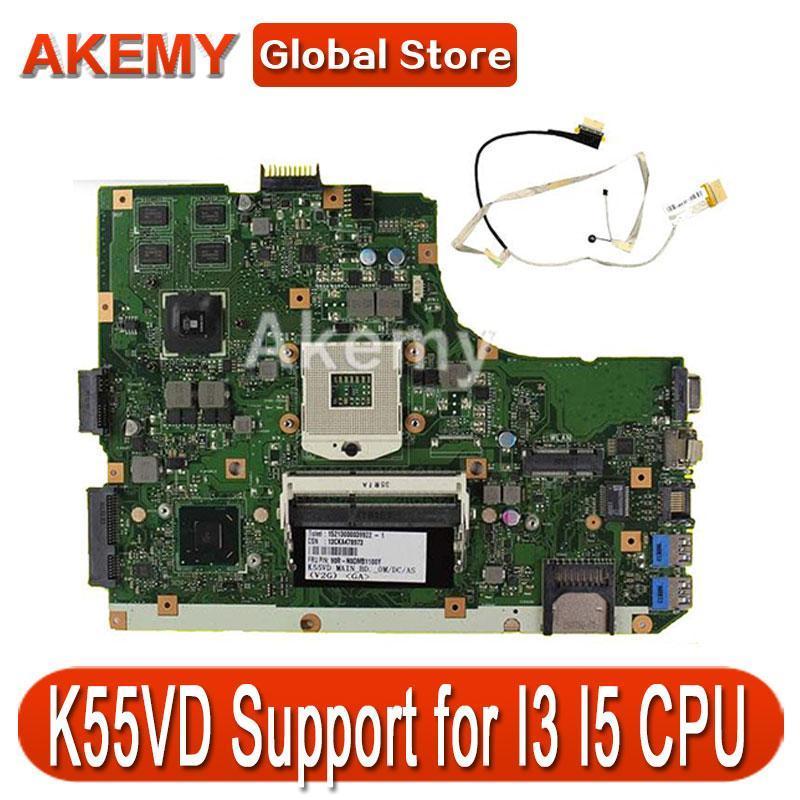 AK K55VD Laptop motherboard for ASUS K55VD K55A A55VD F55VD K55V K55 Test original mainboard Support for I3 CPU