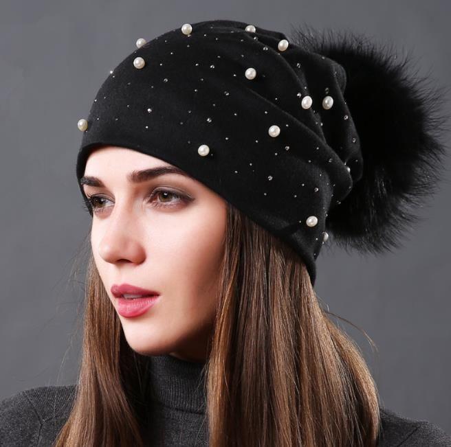 Mulheres Beanie chapéus de inverno chapéus de inverno senhoras algodão duplo quente chapéu casual real bolas de pele de guaxinim pom pom bola chapéus pérolas diamantes beanies tampão