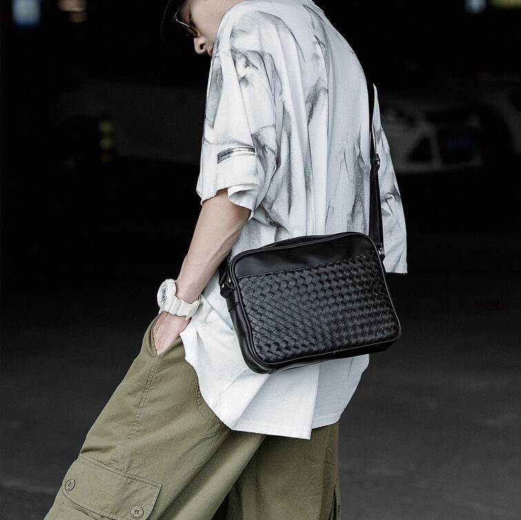 wholesale men handbag hand-woven fashion shoulder bag new minimalist atmospheric leather messenger bag street trend leather shoulder bag