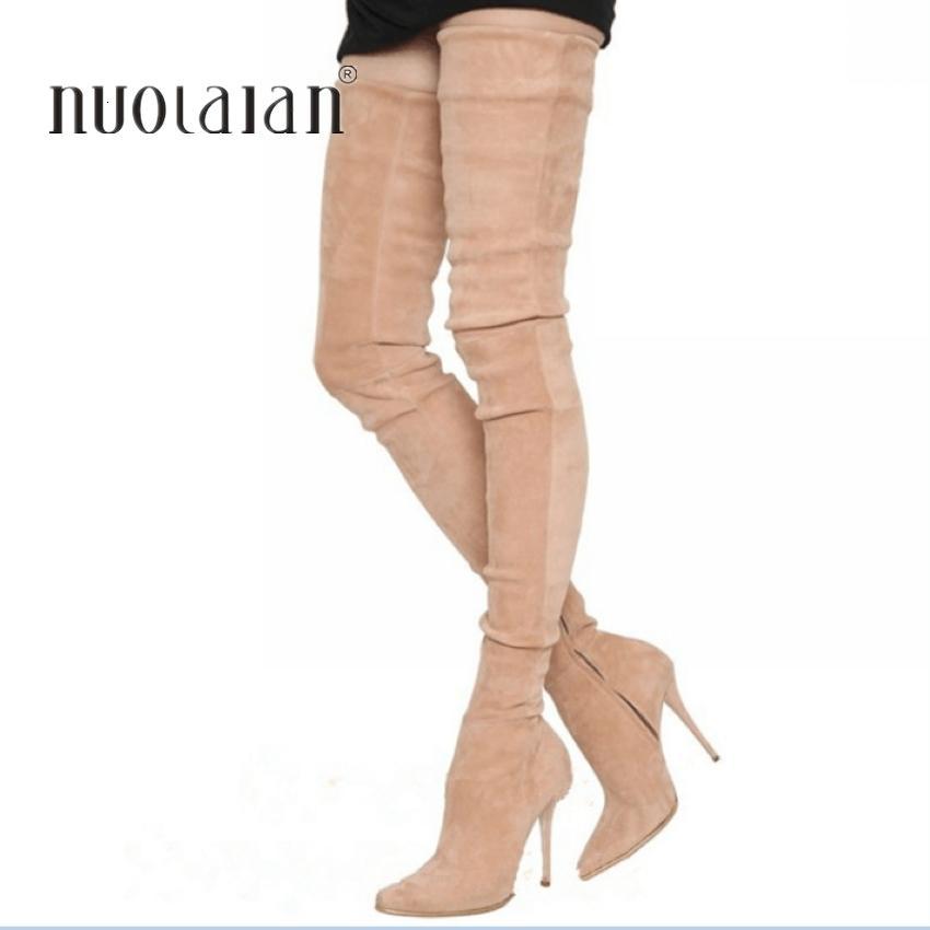 2020 ماركة امتداد جلد الغزال الفخذ ارتفاع النساء الشتاء الخنجر الكعوب مثير فوق الركبة الأحذية النسائية