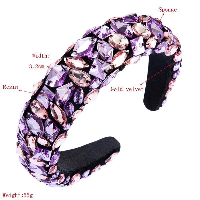 Barroco fértil cristal acolchoado headband luxo rhinestone banda diamante de veludo cabelo hair faixas mulheres acessórios de cabelo y4kn