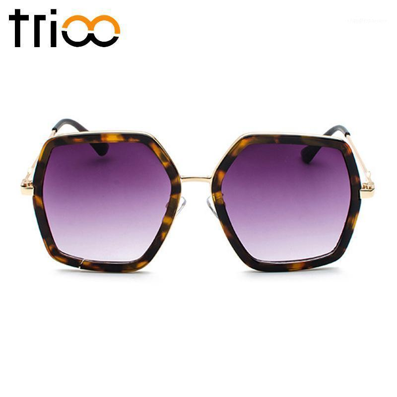 TRIOO Polygon Square Ladies Sunglasses Stylish Oversized Sun Glasses Women UV400 Protection feminino Big Lunette1