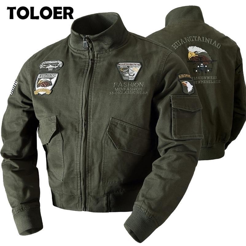Мужские военные куртки бомбардировщики мужчины осень зима повседневная твердая молния пилот пилот новой стенд воротник мужской вышивки тонкий слой 201118