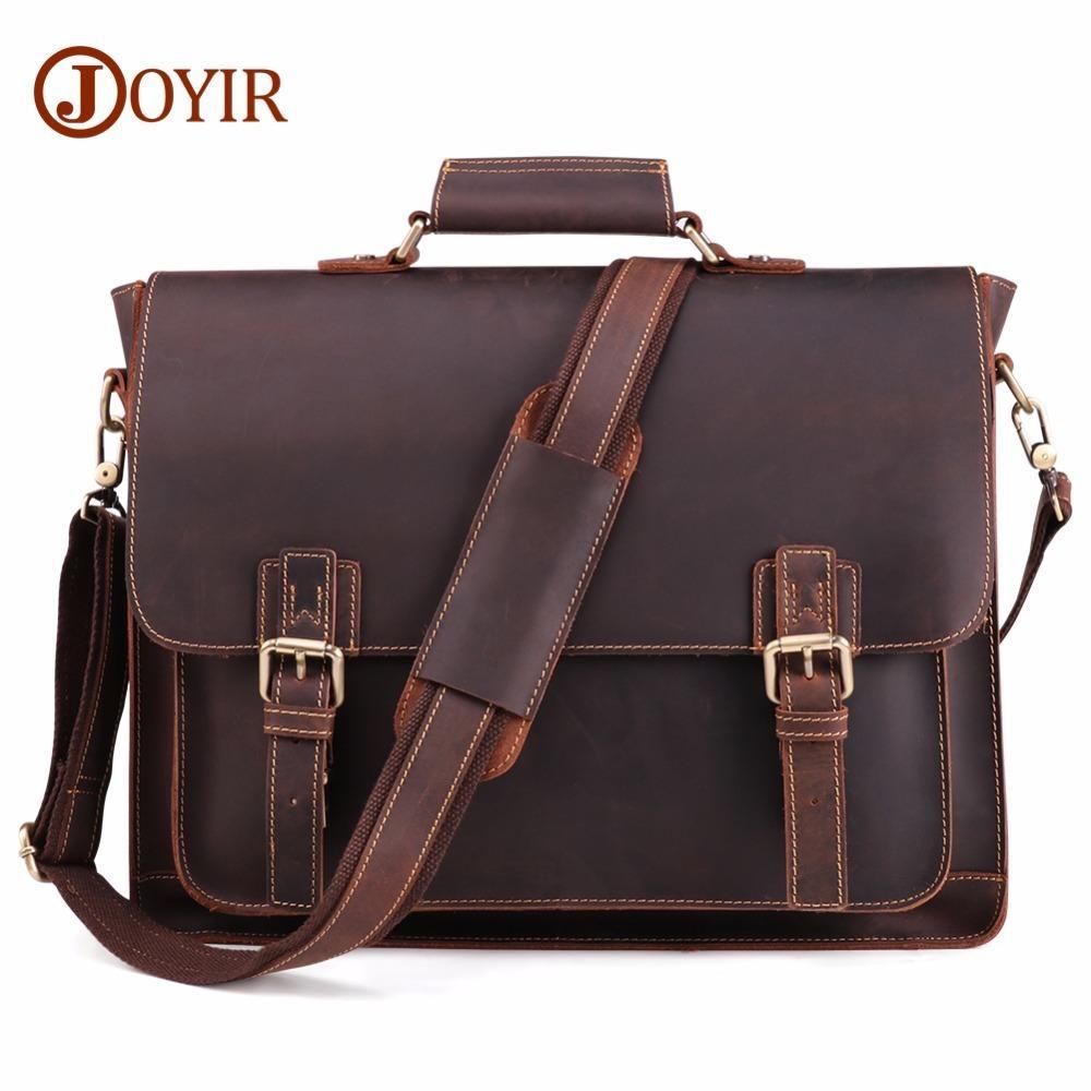 JOYIR 2020 Vintage Men's Briefcase Crazy Horse Genuine Leather Messenger Male Laptop Men Business Travel Bag Q0112
