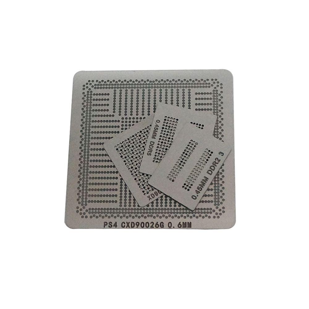 4 adet PS4 Doğrudan Isıtma Reballing BGA Stencil CXD90025G CXD90026G K4B2G1646E DDR3 SDRAM K4G41325FC GDDR5 RAM 0.5 0.45mm Top için