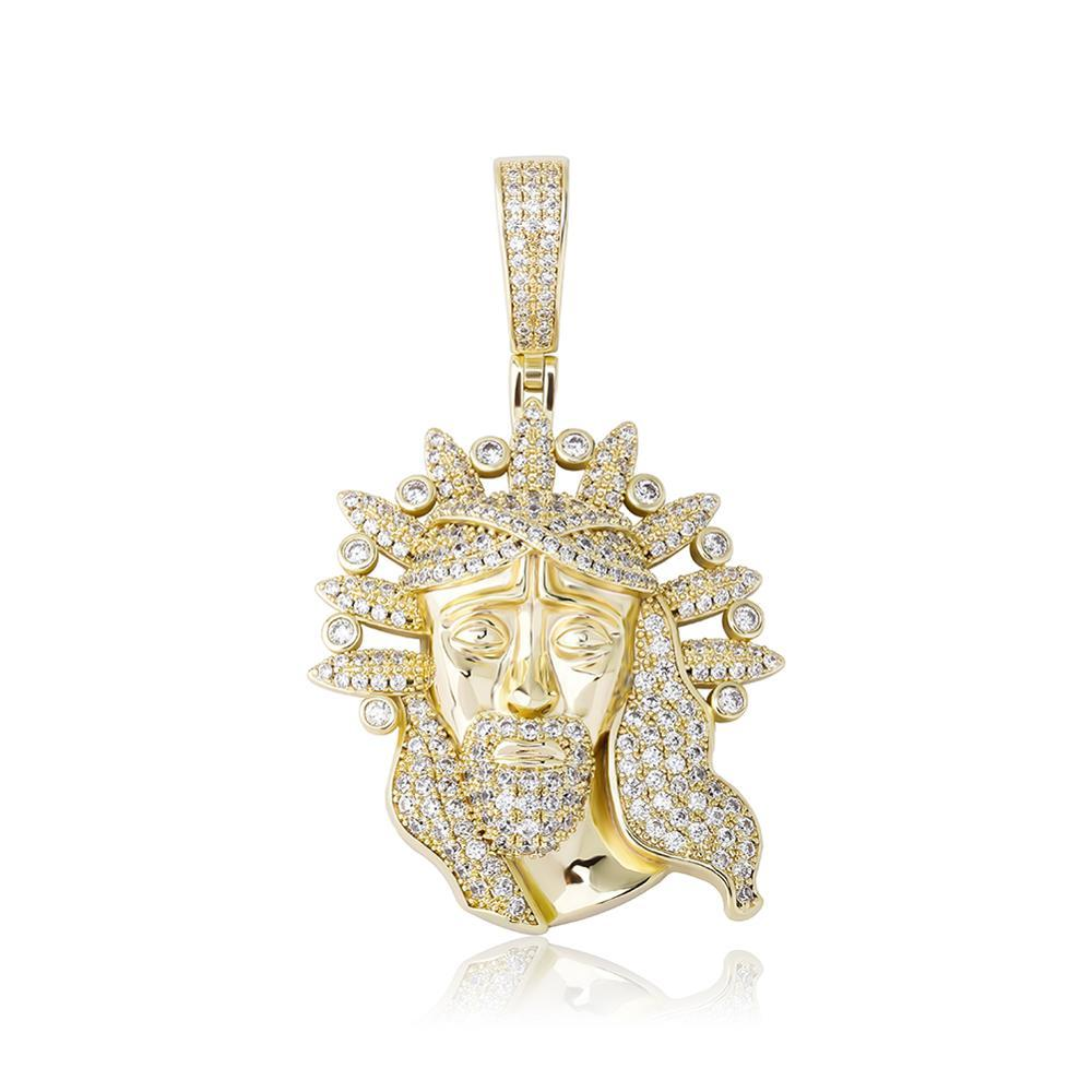 2021 New Jesus Portrait Pendant Necklace Hip Hop Fashion Jewelry Iced Out Cubic Zirconia Christian Religious Jewelry Gifts for Men Women