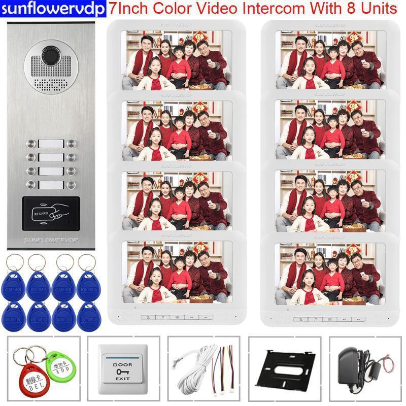 """7 """"Video Kapı Zili RFID Erişim Kontrolü Güvenlik Kapı Girişi 8 Monitörler Görüntülü Kapı Telefonu Evrensel İnterkom Anahtar İnterkom Kapı Telefonu1"""