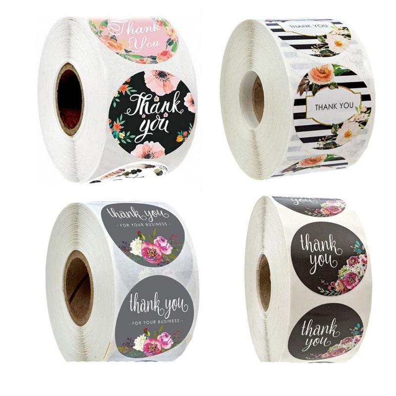 500 unids redondo 1 pulgada Gracias flor adhesivo adhesivo adhesivo caramelo bolsa de regalo caja de regalo boda etiqueta hornear